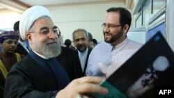 Iranian President Hassan Rohani attends the opening of the 28th Tehran International Book Fair on May 5.