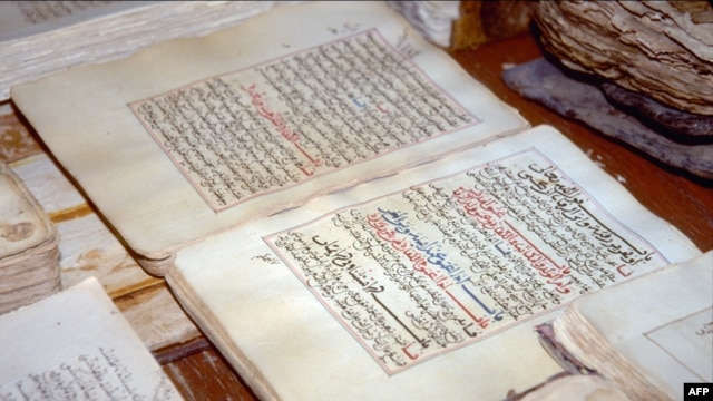 Ancient Arabic manuscripts that were part of the collection displayed at the library in the Malian city of Timbuktu, the intellectual and spiritual capital of Islam in Africa in the 15th and 16th centuries.