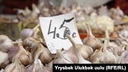 Средняя стоимость чеснока на оптовом рынке в Бишкеке. 11 октября 2018 года.