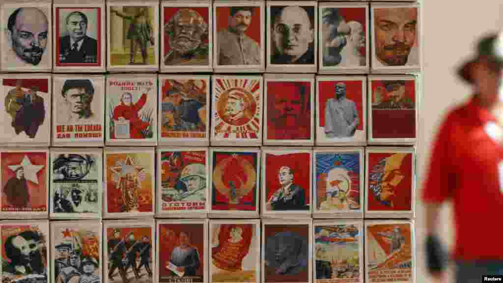 "Akhunov makes effective use of old Soviet propaganda in another installation called ""Monument to the Match."""