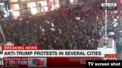 Трампка каршы Нью-Йорктогу демонстрациядан көрүнүш. 9-ноябрь, 2016-жыл.