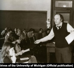 Joseph Brodsky --shown here in the early 1970s at the University of Michigan -- was tried in 1964 for alleged crimes against the Soviet state.