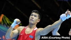 Казахстанский боксер Бекзат Нурдаулетов, победитель чемпионата мира.