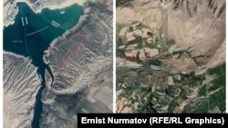 Слева - водохранилище Керкидан, справа - участок возле села Гулбаар. Белая полоса - кыргызско-узбекская граница, красная полоса - обменные участки. Коллаж сделан на основе скриншотов Google карты.