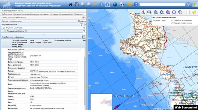 Ділянка «Глибока» на електронній карті надрокористування Росії