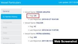 В истории судна «Федор Урюпин» в базе Marine Traffic значится, что оно имеет отношение к Украине