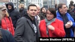 Юлия Галямина и Илья Яшин на протестной акции