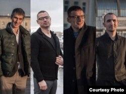 Обвиняемые в незаконном удержании наркоманов (справа налево) Константин Монич, Юрий Буков, Александр Земляной, Павел Гузь