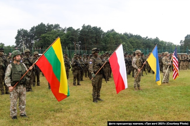 Відкриття міжнародних військових навчань «Три мечі 2021»