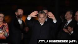 Prim-ministrul Ungariei, Viktor Orbán, sărbătorește la Budapesta câștigarea alegerilor parlamentare din 2018.