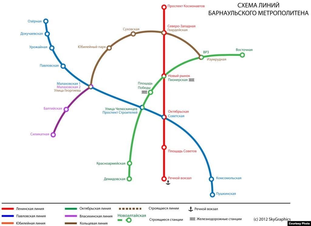 x. Схема линий барнаульского