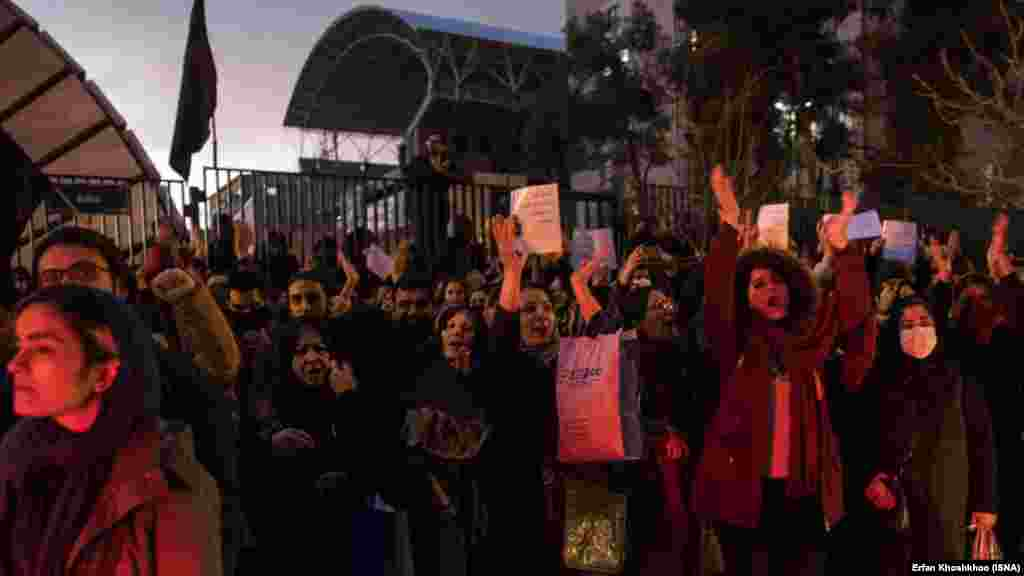 """Protesters at Amir Kabir University in Tehran on January 11 were heard chanting, """"Our leader is ignorant and a source of shame."""""""