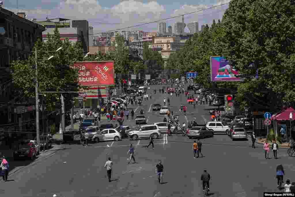 Protesters used cars to block roads throughout the Armenian capital.