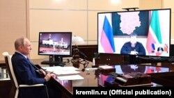 Онлайн-встреча президента РФ Владимира Путина и главы Чечни Рамзана Кадырова