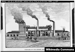 Завод троянской сталелитейной компании Burden Iron Works. Середина XIX века. Из собрания библиотеки Конгресса США