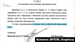 У листі до ДПС депутат Культенко зазначив, що «не надає згоду на обробку персональних даних»