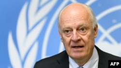 UN Syria envoy Staffan de Mistura attends a press briefing on the Aleppo situation at the UN offices in Geneva in October.
