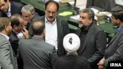 Iran -- Members of Parliament including Heshmatollah Falahatpisheh in a session of Parliament, undated.