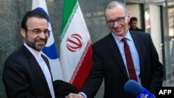 IAEA Deputy Director General and head of the Department of Safeguards Tero Varjoranta (right) with Iran's ambassador to the IAEA Reza Najafi at a February 9 meeting