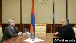 Armenia -- President Serzh Sarkisian meets official runner-up of Armenia's presidential election, Raffi Hovannisian, at the presidential palace, 21Feb2013