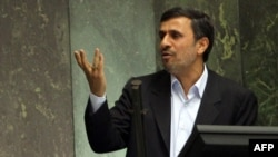 Iran -- President Mahmud Ahmadinejad addresses the parliament in Tehran, 14Mar2012