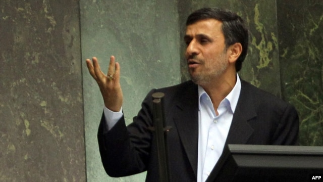 President Mahmud Ahmadinejad addresses the parliament in a previous appearance before lawmakers, in March.