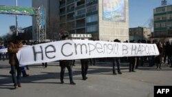Акция протеста против действий властей в Жанаозене. Актау, 18 декабря 2011 года.