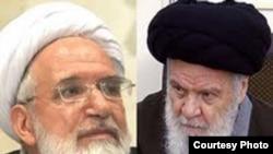 مهدی کروبی (چپ) و آیت الله عبدالکریم موسوی اردبیلی