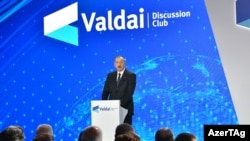 Ռուսաստան - Ադրբեջանի նախագահ Իլհամ Ալիևը ելույթ է ունենում «Վալդայ» համաժողովին, Սոչի, 4-ը հոկտեմբերի, 2019թ․