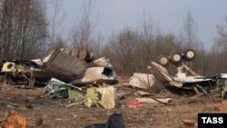 The wreckage of Polish President Lech Kaczynski's plane that crashed in Smolensk in 2010