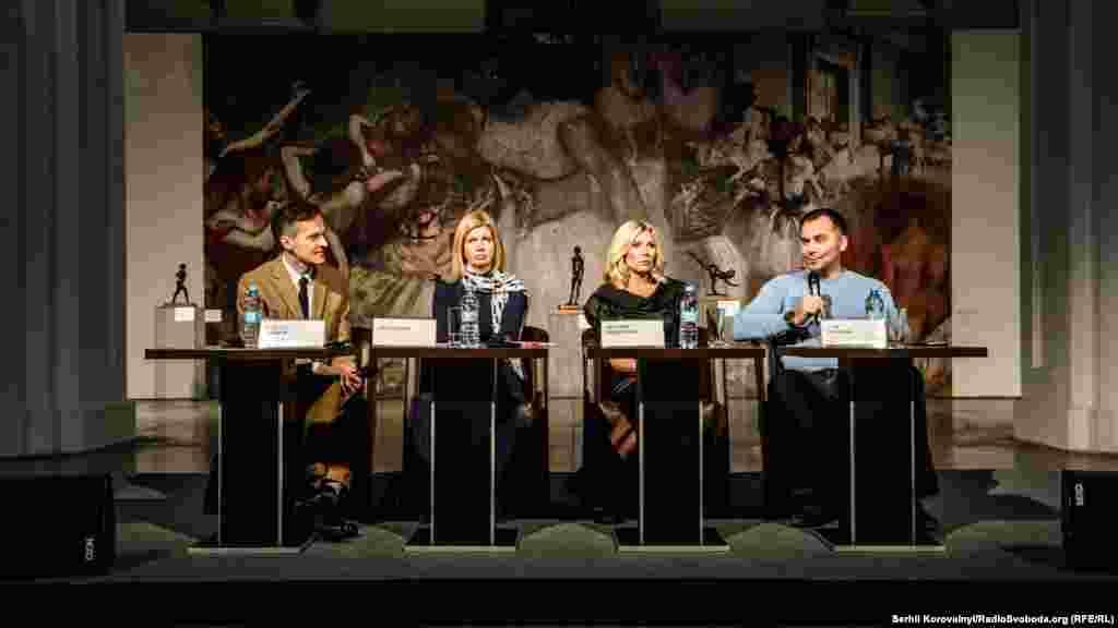 Прес-конференція з нагоди відкриття виставки (зліва направо: Олексій Ананов, Ольга Вієру, Наталія Заболотна та Ігор Воронов)