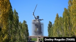 The Motherland Calls statue, in Russia's southern city of Volgograd, on October 16 after scaffolding was partly removed following renovations.