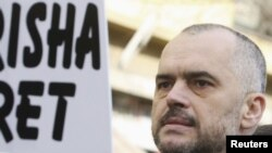 The leader of Albania's opposition Socialist Party, Edi Rama, during an antigovernment protest in Tirana on February 4