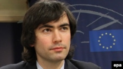 Pavel Khodorkovsky, son of Mikhail Khodorkovsky, during a news conference at the European Parliament in Brussels in March