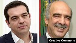 Liderul Syriza Alexis Tsipras (stînga) și Vangelis Meimarakis, șeful partidului conservator Noua Democrație.