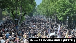 Thousands of opposition supporters rallied in Tbilisi on May 22, calling for the nonviolent ouster of President Mikheil Saakashvili.
