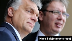 Hungarian Prime Minister Viktor Orban (left) and Serbian Prime Minister Aleksandar Vucic both come under sharp criticism by Freedom House for their treatment of the press.