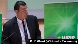 Lebanese IT Expert Nizar Zakka, a permanent US resident, he was detained in Iran in 2015 accused of being an American spy, here shown during a speech at (WSIS) Forum in 2015