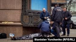 Место убийства в центре Киева экс-депутата Госдумы Дениса Вороненкова