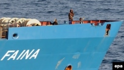 "A U.S. Navy photograph of Somali pirates aboard the ""MV Faina"""