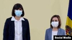 Președinta Maia Sandu și Laura Codruța Kovesi, procuror șed al Parchetului European, Bruxelles, 17 ianuarie 2021/Facebook