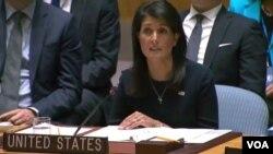 نیکی هیلی می گوید، برجام نمی تواند مجوزی برای تداوم اقدامات خلافکارانه ایران در منطقه باشد.