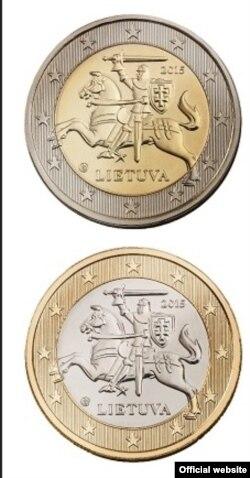 Монети євро Литви номіналом 1 і 2 євро