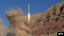 Iran -- A long-range Qadr ballistic missile is launched in the Alborz mountain range in northern Iran, March 9, 2016