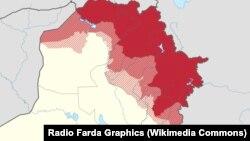 قرمز: مناطق کنترل رسمی دولت اقلیم کردستان. حاشیهها: مناطق مورد مناقشه با دولت مرکزی عراق.