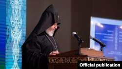 Armenia - Catholicos of All Armenians Garegin II speaks at an international conference on religious freedom in Echiadzin, September 9, 2021.