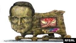 Виктор Медведчуктың Ресеймен байланысын кекеткен карикатура.