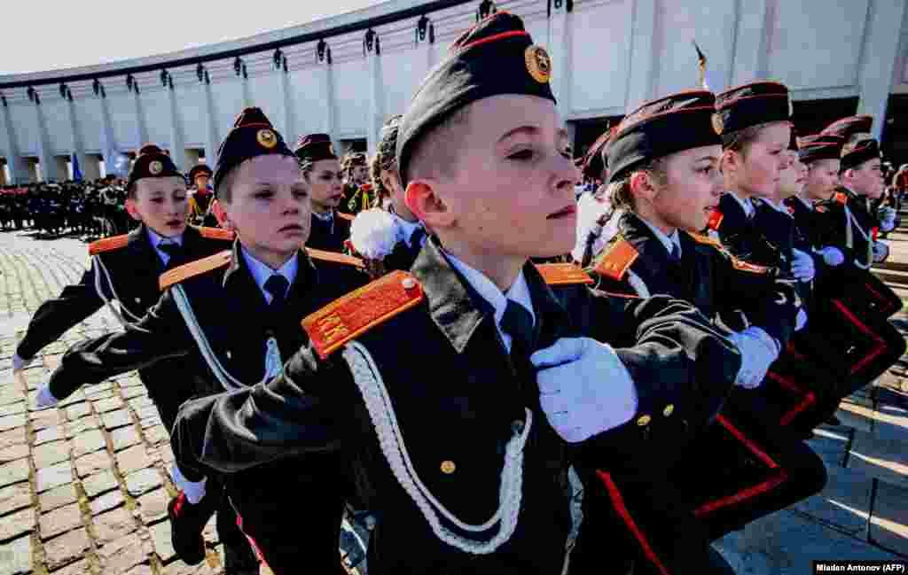 Russian cadets march during the annual cadet schools get-together in Moscow on March 30. (AFP/Mladen Antonov)