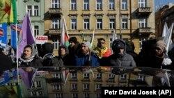 Протест прихильників Саліха Мусліма у столиці Чехії Празі, 26 лютого 2018 року