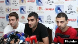 Armenia -- Leaders of the No To Plunder movement at a press conference. Yerevan, 28Aug2015